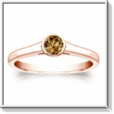 Solitaire 0.50 Ct. Champagne Diamant Bague de Or rose 14K