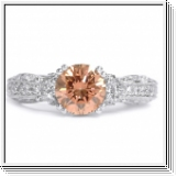 BAGUE OR GRIS 18K AVEC ROSE ET BLANC NATUREL DIAMANTS