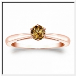 Solitaire 0.25 Ct. Champagne Diamant Bague de Or rose 14K