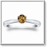 Solitaire 0.50 Ct. Champagne Diamant Bague de Or blanc 14K