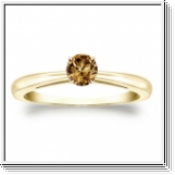 Solitaire 0.25 Ct. Champagne Diamant Bague de Or jaune 14K