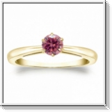 Solitaire 0.50 Ct. rose Diamant Bague de Or jaune 14K