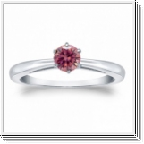 Solitaire 0.50 Ct. rose Diamant Bague de Or blanc 14K