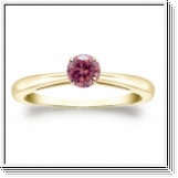Solitaire 0.25 Ct. rose Diamant Bague de Or jaune 14K