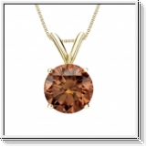 0.50 Carat cognac Diamond 14K yellow gold Pendant