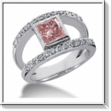 BAGUE 14K or blanc AVEC ROSE ET BLANC NATUREL DIAMANTS