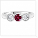0.25 Ct. BAGUE OR BLANC 18K AVEC RUBIS NATUREL ET DIAMANTS