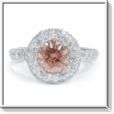 BAGUE OR GRIS 14K AVEC ROSE ET BLANC NATUREL DIAMANTS