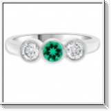 0.54 Carats Emerald SI1 Diamond Ring in 18k White Gold