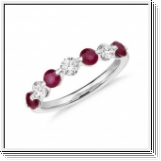 0.50 Ct. BAGUE OR BLANC 18K AVEC RUBIS NATUREL ET DIAMANTS