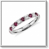 Bague semi-mémorable Ruby Brilliant en or blanc 18K