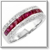 1.85 carats Bague brillante en rubis or blanc 18K
