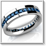 Eternity diamond ring in 14K white gold 2.00 carat blue diamonds