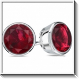 2.00 Ct. Ruby Earstuds - 14K white gold