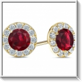 2.60 carats Ruby Diamond earrings - 14K Yellow Gold