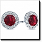 2.60 carats Rubis Boucles d'oreilles diamants - Or blanc 14 ct