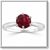 1.00 carat ruby ring - 14K White Gold