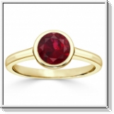 1.00 carat ruby ring - 18K Yellow Gold
