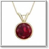 1.00 carats Ruby Solitaire Pendant - 18K Yellow Gold