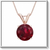 1.00 carats Ruby Solitaire Pendant - 18K Rose Gold