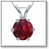 1.00 carats Rubis Pendentif solitaire - or blanc 18K
