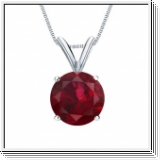 1.00 carats Rubis Pendentif solitaire - or blanc 14K