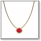 1.00 carats Ruby Solitaire Pendant with chain 14K Yellow Gold