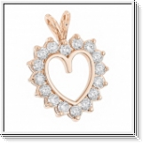 2.40 CTS. DIAMANTS COEUR PENDENTIF OR ROSE