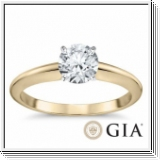 0.25 Ct. Blanc Diamant Bague de Or jaune 14K D/IF GIA cert.