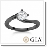 Diamond engagment ring 0.25 D/IF black gold 14K