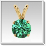 0.25 Carat green Diamond 14K yellow gold Pendant