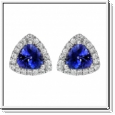 Tanzanite diamant boucles d'oreille 2,50 carats - Or blanc 18K