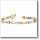 Bracelet Diamants 1.00 Carat - Or jaune et blanc 14 Carats