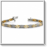 Bracelet Rivière Diamants 1.00 Cts. - Or Jaune et Or Blanc