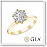 0.40 Ct. Blanc Diamant Bague de Or jaune 14K D SI1 GIA cert.