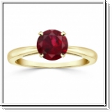 1.00 carat ruby ring - 14K Yellow Gold