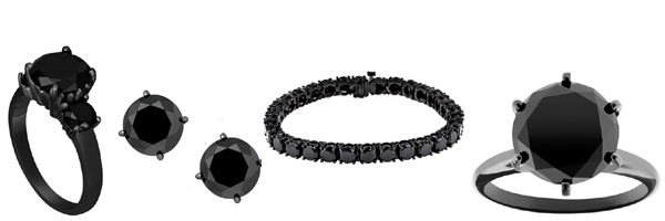 Black Diamonds with black gold! Diamond Rings, Diamond Earstuds and Diamond bracelets!