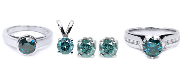 Diamond Rings, Diamond Earstuds, Diamond Pendants and Diamond bracelets with blue diamonds!