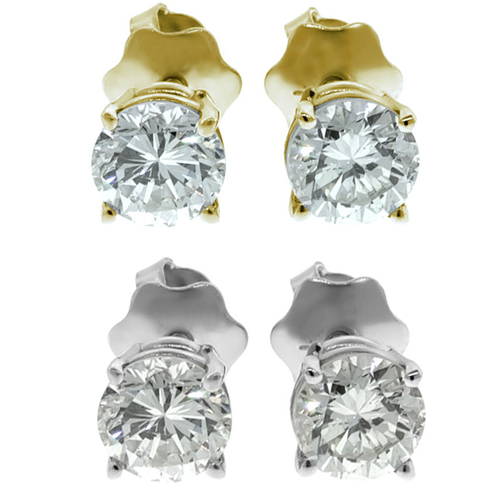 1.00 Ct. white Diamond Earstuds - 14K white or yellow gold  SI2 / G-H