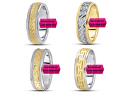 wedding rings two tone gold 14K and 18K
