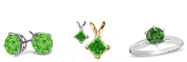 Diamond Rings, Diamond Earstuds, Diamond Pendants and Diamond bracelets with green diamonds!