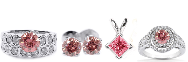 Diamond Rings, Diamond Earstuds, Diamond Pendants and Diamond bracelets with pink diamonds!