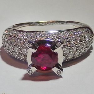 2.70 Carats Ruby VVS Diamond Ring in 18k White Gold