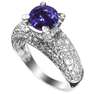 3.00 Carats Tanzanite VVS Diamond Ring in 18k White Gold
