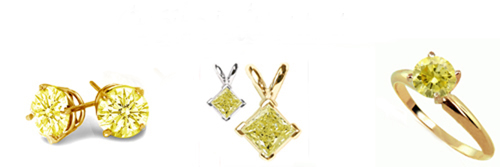 Diamond Rings, Diamond Earstuds, Diamond Pendants and Diamond bracelets with yellow diamonds!