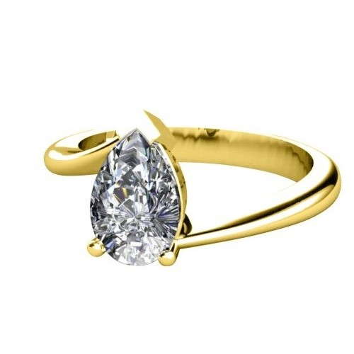 0.50 Ct. D/SI1 PEAR DIAMOND ENGAGEMENT RING 14K YELLOW GOLD