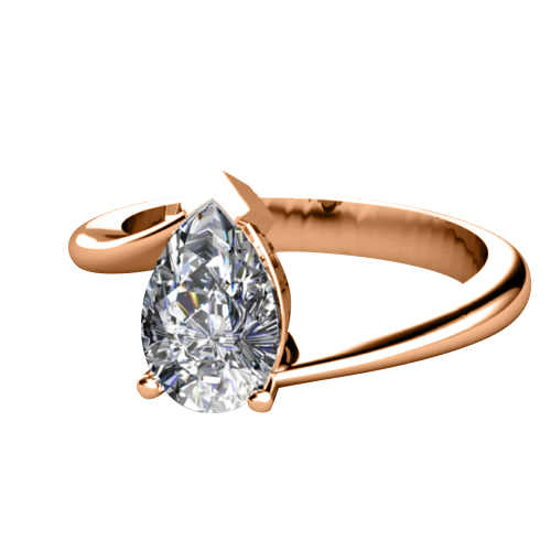 0.50 Ct. D/SI1 PEAR DIAMOND ENGAGEMENT RING 14K ROSE GOLD