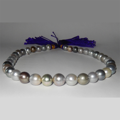 Multicolor Tahitian pearl necklace 10.40 to 12.40mm