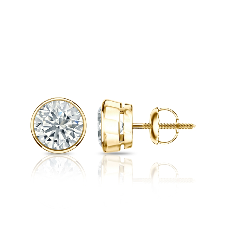 Diamant Ohrstecker Single 1,00 Ct. GIA zertifiziert 14K Gelbgold