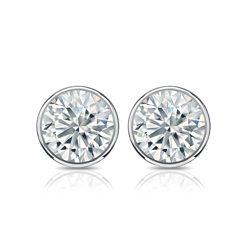 1.00 CT. D/SI1 DIAMOND STUDS 18K WHITE GOLD + GIA CERTIFICATE